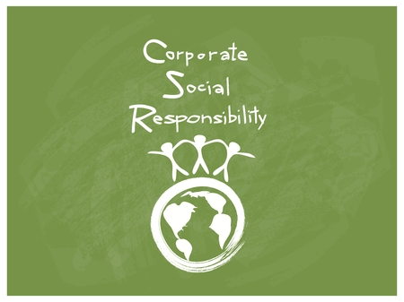 Business Concepts, World Environment with CSR Abbreviation or Corporate Social Responsibility Achieve Notes. Ilustracja