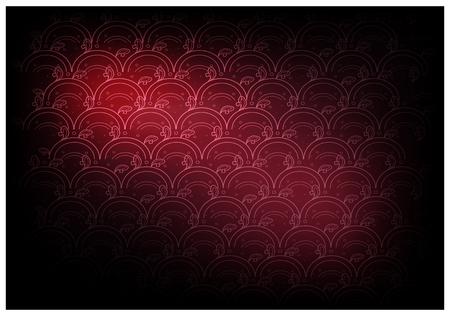 Thai Wave Pattern, Illustration of Beautiful Red Vintage Texture Wallpaper Background for Add Content or Picture.