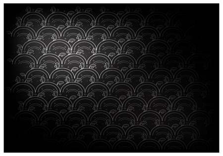 Thai Wave Pattern, Illustration of Beautiful Black Vintage Texture Wallpaper Background for Add Content or Picture. Illustration