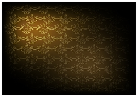 Thai Ancient Wave Pattern, Illustration of Beautiful Golden Brown Vintage Texture Wallpaper Background for Add Content or Picture.