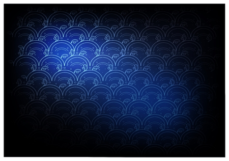 Thai Wave Pattern, Illustration of Beautiful Blue Vintage Texture Wallpaper Background for Add Content or Picture. Illustration