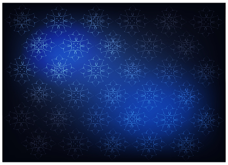 Illustration of Beautiful Blue Vintage Texture Wallpaper Background with Floral Pattern for Add Content or Picture. Illustration