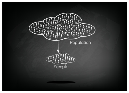 size distribution: Business and Marketing or Social Research, The Process of Selecting Sample of Elements From Target Population to Conduct A Survey on Black Chalkboard.