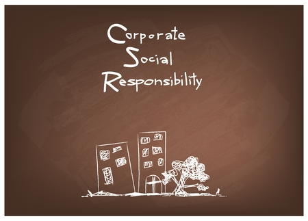 conscience: Business Concepts, CSR Abbreviation or Corporate Social Responsibility on Brown Chalkboard
