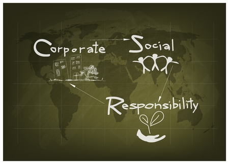Business Concepts, World Environment with CSR Abbreviation or Corporate Social Responsibility on Green Chalkboard.
