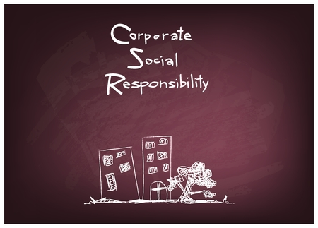 conscience: Business Concepts, CSR Abbreviation or Corporate Social Responsibility on Chalkboard
