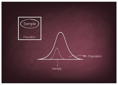 gaussian distribution: Business and Marketing or Social Research Process, Gaussian, Bell or Normal Distribution Curve with The Sampling Methods of Selecting Sample of Elements From Target Population to Conduct Survey on Chalkboard.