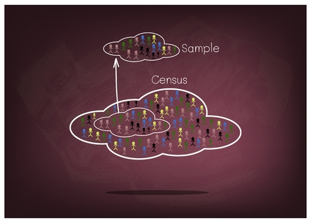 size distribution: Business and Marketing or Social Research, The Process of Selecting Sample of Elements From Target Population to Conduct A Survey on Chalkboard. Illustration