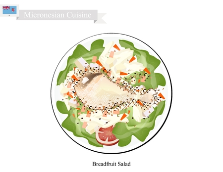 chicken dish: Micronesian Cuisine, Illustration of Breadfruit Salad with Chicken Similar to Traditional Potato Salad Made of Breadfruit, Chop Eggs and Onions Season with Mayonnaise, Mustard, White Pepper, Salt and Garlic Powder. One of The Most Popular Dish in Micrones