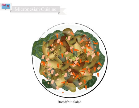 side dish: Micronesian Cuisine, Illustration of Breadfruit Salad Similar to Traditional Potato Salad Made of Breadfruit, Chop Eggs and Onions Season with Mayonnaise, Mustard, White Pepper, Salt and Garlic Powder. One of The Most Popular Dish in Micronesia.
