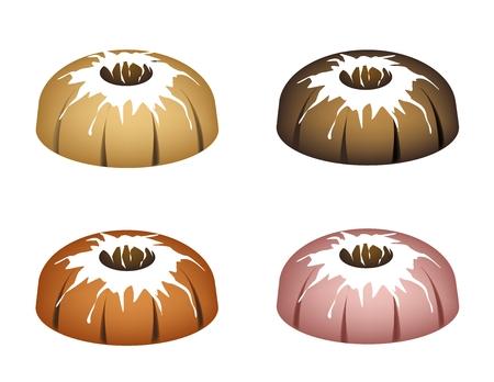 Illustration Set of Bundt Cake or Traditional Big Round Cake with Hole Inside and Mirror Glaze Coating for Holiday Dessert Isolated on White Background. Illustration
