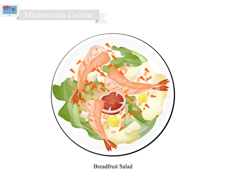 Micronesian Cuisine, Illustration of Breadfruit Salad with Shimp Similar to Traditional Potato Salad Made of Breadfruit, Chop Eggs and Onions Season with Mayonnaise, Mustard, White Pepper, Salt and Garlic Powder. One of The Most Popular Dish in Micronesia