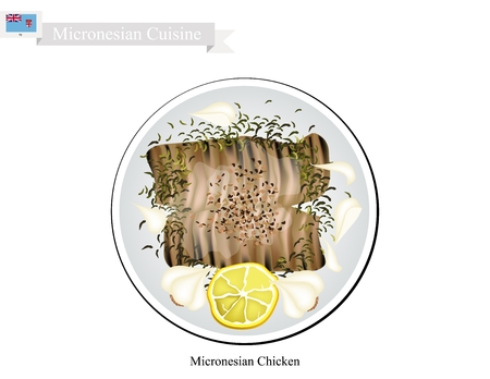 Micronesian Cuisine, Illustration of Traditional Grilled Chicken Breast Steeped in Lemon Juice and Marinated In Beer, Soy Sauce and Chopped Garlic. A Popular Dish of Micronesia.