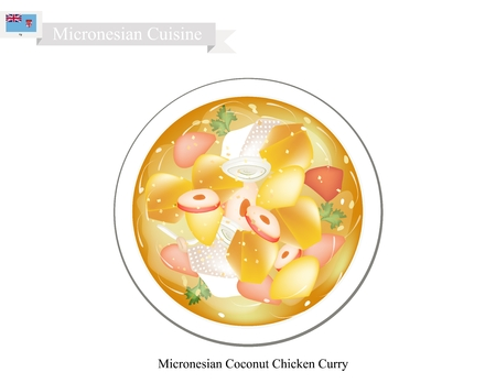 savoury: Micronesian Cuisine, Illustration of Traditional Coconut Chicken Curry Made of Chicken, Potatoes, Curry, Coconut Milk, Ginger and Garlic. One of The Most Popular Dish in Micronesia.