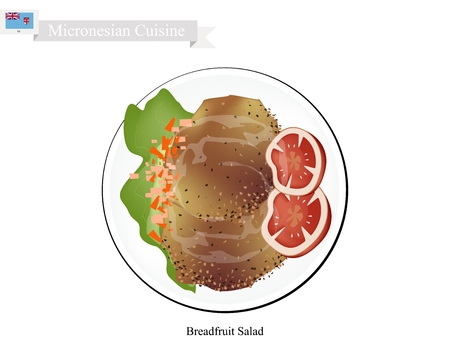 Micronesian Cuisine, Illustration of Breadfruit Salad with Meat Similar to Traditional Potato Salad Made of Breadfruit, Chop Eggs and Onions Season with Mayonnaise, Mustard, White Pepper, Salt and Garlic Powder. One of The Most Popular Dish in Micronesia. Illustration