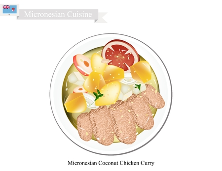 curry: Micronesian Cuisine, Illustration of Traditional Coconut Chicken Curry Made of Chicken, Potatoes, Curry, Coconut Milk, Ginger and Garlic. One of The Most Popular Dish in Micronesia.