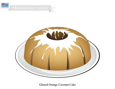 Micronesian Cuisine, Glazed Orange Coconut Cake or Traditional Big Round Cake with Hole Inside and Mirror Glaze Coating. One of Most Popular Dessert in Micronesia.