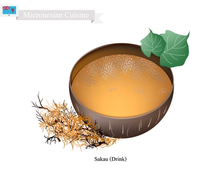Micronesian Cuisine, Illustration of Sakau Drink or Traditional Beverage Made From The Roots of The Sakau Plant Mixed with Water. One of The Most Popular Drink in Micronesia.