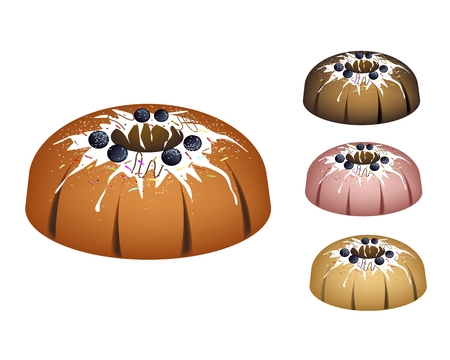 Illustration Set of Bundt Cake or Traditional Big Round Cake with Hole Inside, Mirror Glaze Coating, Blueberry and Chocolate Sprinkles for Holiday Dessert Isolated on White Background.