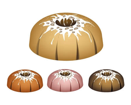 Illustration Set of Bundt Cake or Traditional Big Round Cake with Hole Inside, Mirror Glaze Coating and Chocolate Sprinkles for Holiday Dessert Isolated on White Background.