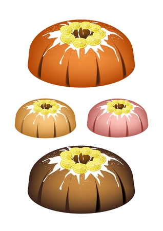 Illustration Set of Bundt Cake or Traditional Big Round Lemon Cake with Hole Inside and Mirror Glaze Coatingfor Holiday Dessert Isolated on White Background. Illustration