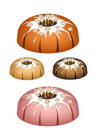 Illustration Set of Bundt Cake or Traditional Big Round Cake with Hole Inside, Mirror Glaze Coating and Nuts for Holiday Dessert Isolated on White Background.