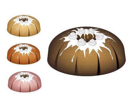 Illustration Set of Bundt Cake.