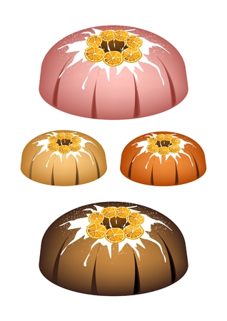 Illustration Set of Orange Bundt Cake.