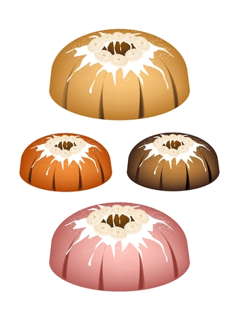 Illustration Set of Banana Bundt Cake or Traditional Big Round Banana Cake with Hole Inside and Mirror Glaze Coatingfor Holiday Dessert Isolated on White Background. Illustration