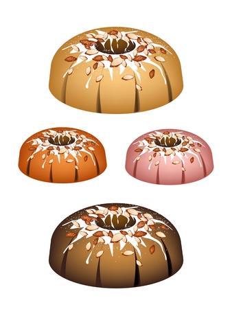 Illustration Set of Bundt Cake or Traditional Big Round Cake with Hole Inside, Mirror Glaze Coating and Almonds for Holiday Dessert Isolated on White Background.