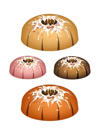Illustration Set of Bundt Cake or Traditional Big Round Cake with Hole Inside, Mirror Glaze Coating and Peanuts for Holiday Dessert Isolated on White Background.