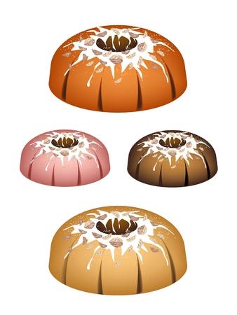 Illustration Set of Bundt Cake or Traditional Big Round Cake with Hole Inside, Mirror Glaze Coating and Walnuts for Holiday Dessert Isolated on White Background. Illustration