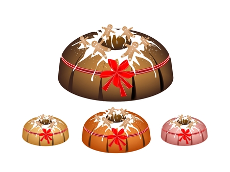 Illustration Set of Strawberry Bundt Cake or Traditional Big Round Banana Cake with Hole Inside and Mirror Glaze Coatingfor Holiday Dessert Isolated on White Background. Illustration