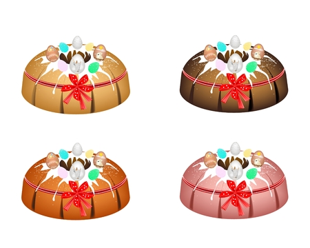 Bundt Cake or Traditional Big Round Cake with Hole Inside, Mirror Glaze Coating and Easter Eggs for Easter Holiday Dessert Isolated on White Background.