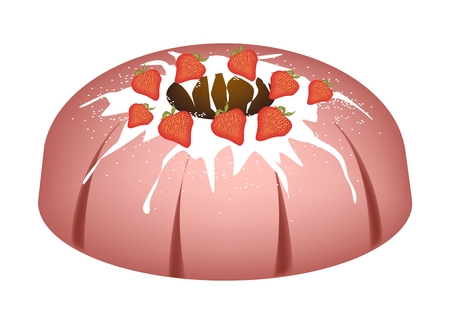 Strawberry Bundt Cake or Traditional Big Round Banana Cake with Hole Inside and Mirror Glaze Coatingfor Holiday Dessert Isolated on White Background.