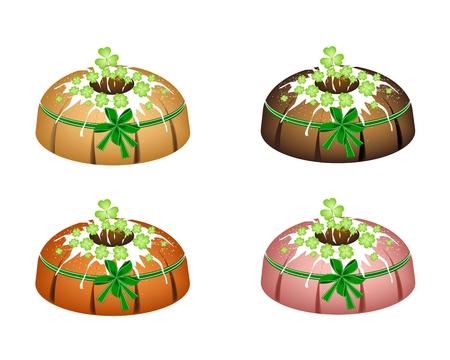 cloverleafes: Illustration of Bundt Cake or Traditional Big Round Cake with Hole Inside, Mirror Glaze Coating and Four Leaf Clover Plants or Shamrock for St. Patricks Day Celebration Isolated on White Background.