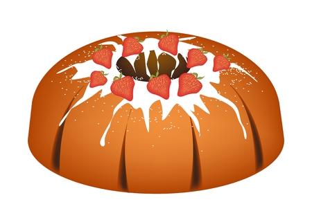 Strawberry Bundt Cake or Traditional Big Round Banana Cake with Hole Inside and Mirror Glaze Coatingfor Holiday Dessert Isolated on White Background.