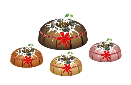 chocolate mousse: Illustration Set of Bundt Cake or Traditional Big Round Cake with Hole Inside, Mirror Glaze Coating and Cherries for Holiday Dessert Isolated on White Background. Illustration