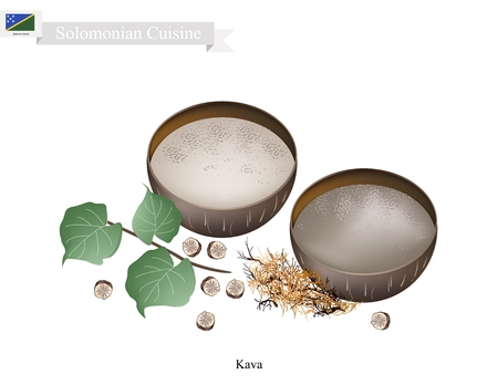Solomonian Cuisine, Illustration of Kava Drink or Traditional Beverage Made From The Roots of The Kava Plant Mixed with Water. One of The Most Popular Drink in Solomon Islands. Иллюстрация