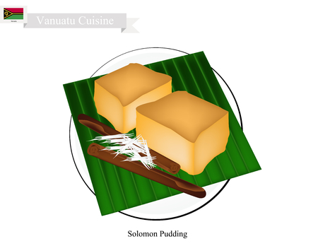 grated cheese: Vanuatu Cuisine, Traditional Solomon Pudding or Cassava Pudding Made of Grated Cassava, Sugar and Water Coated with Grated Coconut. One of The Most Famous Dessert in Vanuatu.