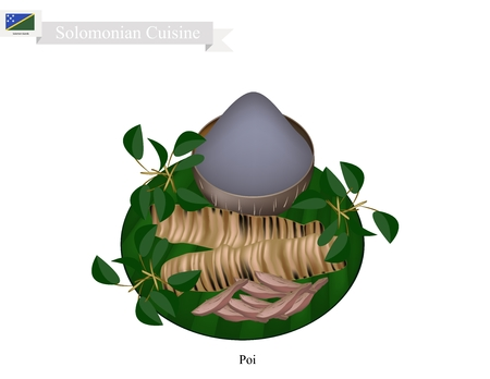 Solomonian Cuisine, Poi or Traditional Taro Porridge Made with Fermented Taro Roots Served with Roast Meat. One of The Most Popular Dish of Solomon Islands.