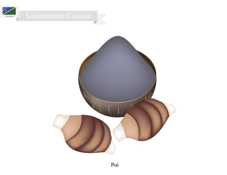 oahu: Solomonian Cuisine, Poi or Traditional Taro Porridge Made with Fermented Taro Roots Served Like A Pudding. One of The Most Popular Dish of Solomon Islands. Illustration