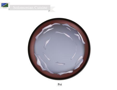솔로몬 식 요리, 포이 또는 발효 타로 뿌리로 만든 전통적인 타로 죽 푸딩처럼 제공. 솔로몬 군도의 가장 인기있는 접시 중 하나. 일러스트
