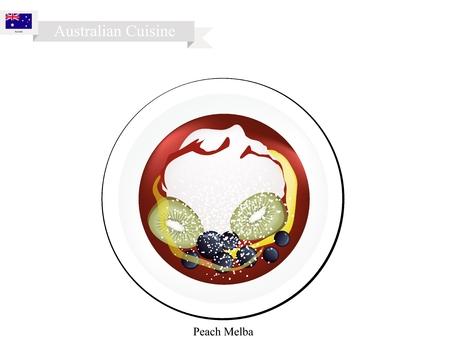 most popular: Australian Cuisine, Peach Melba or Traditional Vanilla Ice Cream with Peach Fruits and Raspberry Sauce. One of Most Popular Dessert in Australia. Illustration