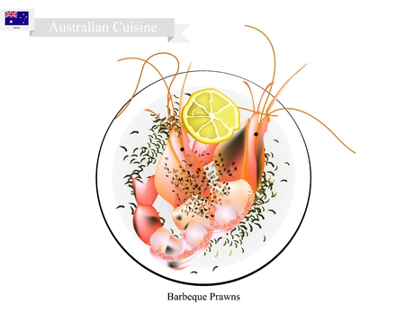 Australian Cuisine, Illustration of Traditional Barbecued Prawns or BBQ Garlic Prawns. One of Most Popular Dish in Australia.