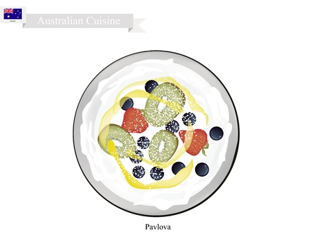 Australian Cuisine, Pavlova Meringue Cake Top with Fresh Berry Fruits. One of Most Popular Dessert in Australia. Illustration