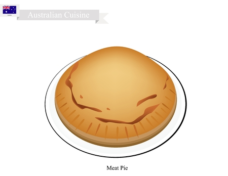 Australian Cuisine, Traditional Meat Pie or A Pie Stuffed with Minced Beef. A National Dish of Australia . Illustration
