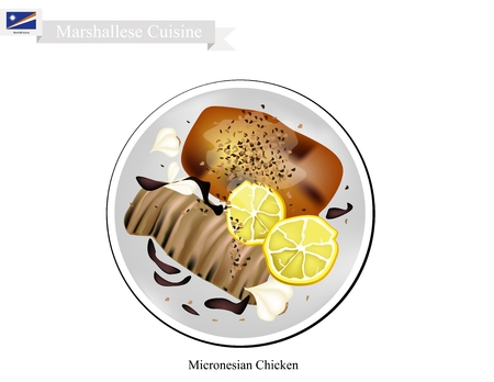 Marshallese Cuisine, Illustration of Traditional Grilled Chicken Breast Steeped in Lemon Juice and Marinated In Beer, Soy Sauce and Chopped Garlic. A Popular Dish of Marshall Islands.