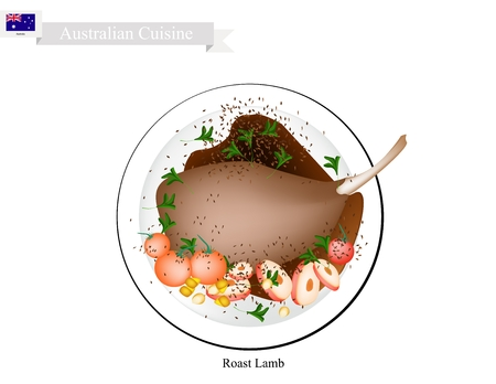 Australian Cuisine, Illustration of Traditional Roasted Lamb Legs with Herb. A Popular Dish of Australia.