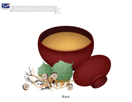 Marshallese Cuisine, Illustration of Kava Drink or Traditional Beverage Made From The Roots of The Kava Plant Mixed with Water. One of The Most Popular Drink in Marshall Islands.